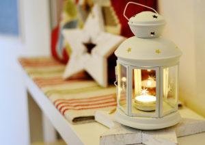 Lantern and star on the mantelpiece